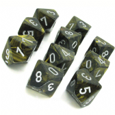 Black Gold & Silver Leaf D10 Ten Sided Dice Set